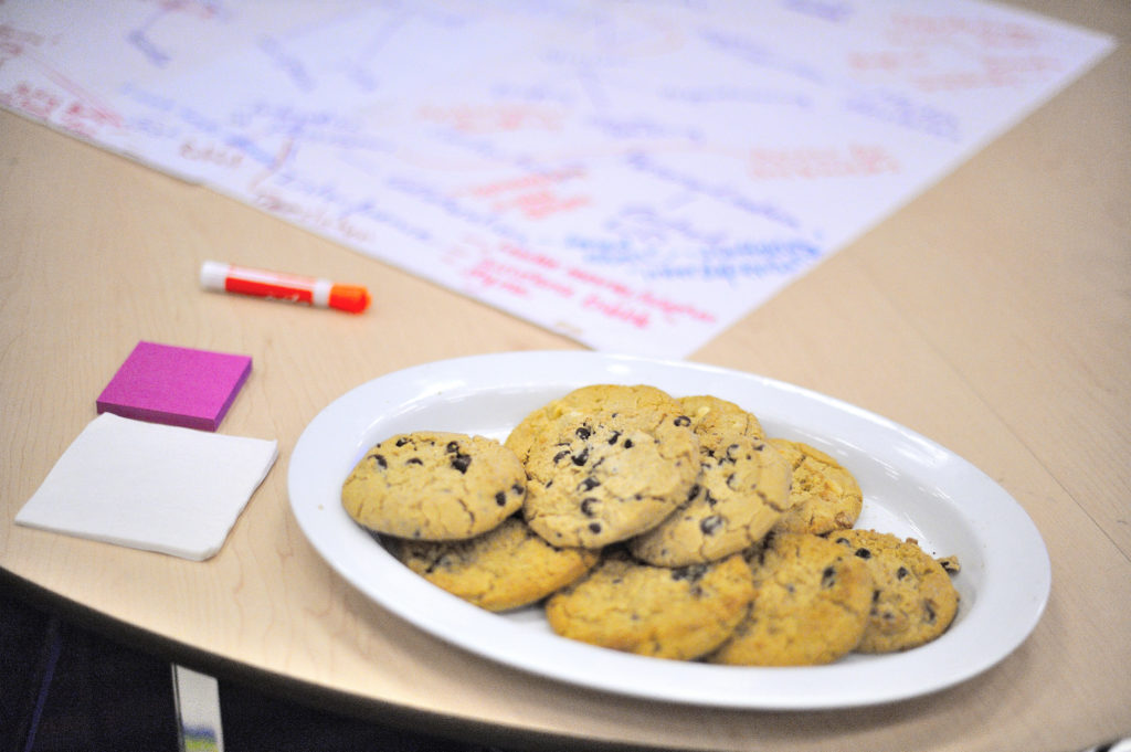 Plate with chocolate chip cookies on a round table. In the background, there is a poster and post-it notes.